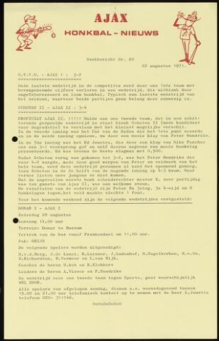 Honkbal nieuws (1963-1972) 1971-08-22