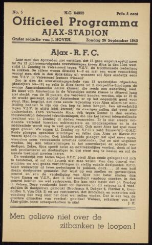 Programmaboekjes (vanaf 1934) 1943-09-26
