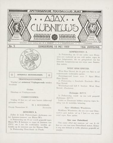 Clubnieuws Ajax (vanaf 1916) 1929-05-16