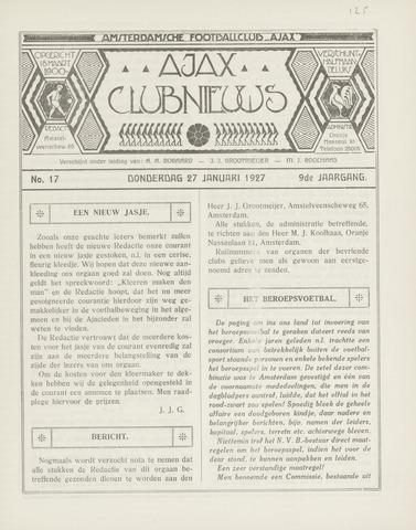 Clubnieuws Ajax (vanaf 1916) 1927-01-27