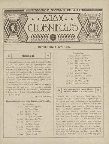 Clubnieuws Ajax (vanaf 1916) 1922-06-01