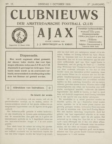 Clubnieuws Ajax (vanaf 1916) 1918-10-01