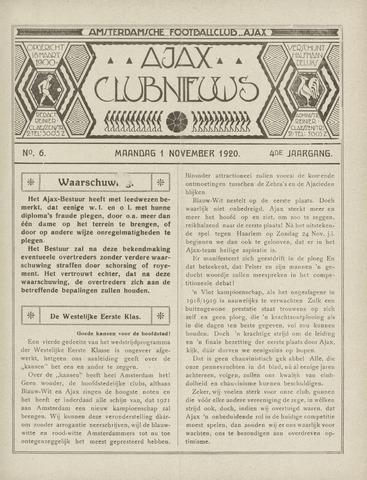 Clubnieuws Ajax (vanaf 1916) 1920-11-01