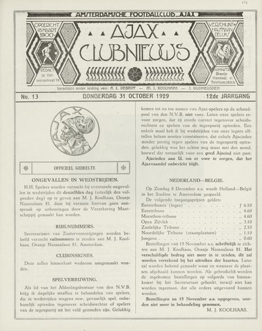 Clubnieuws Ajax (vanaf 1916) 1929-12-01