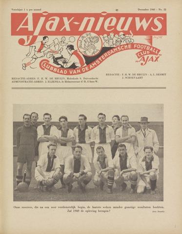 Clubnieuws Ajax (vanaf 1916) 1948-12-01