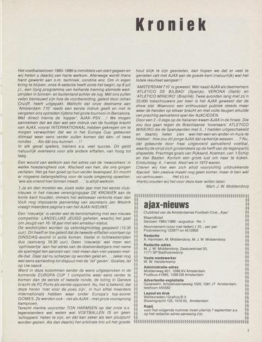 Clubnieuws Ajax (vanaf 1916) 1985-08-01