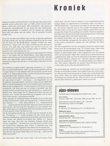 Clubnieuws Ajax (vanaf 1916) 1980-12-01