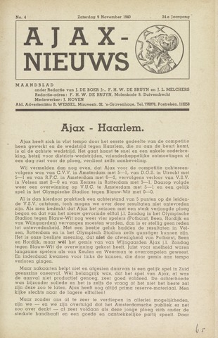 Clubnieuws Ajax (vanaf 1916) 1940-11-09