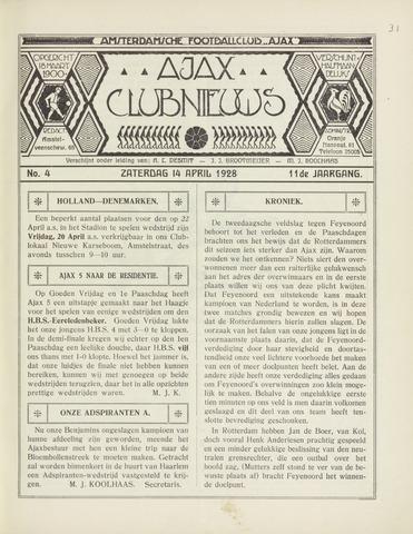 Clubnieuws Ajax (vanaf 1916) 1928-04-14
