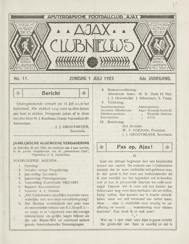 Clubnieuws Ajax (vanaf 1916) 1923-07-01