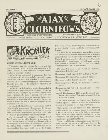Clubnieuws Ajax (vanaf 1916) 1933-07-06