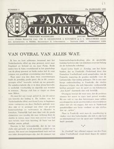 Clubnieuws Ajax (vanaf 1916) 1936-01-01