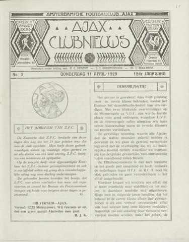 Clubnieuws Ajax (vanaf 1916) 1929-04-11