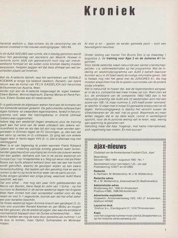 Clubnieuws Ajax (vanaf 1916) 1983-08-01