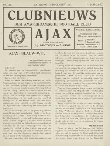 Clubnieuws Ajax (vanaf 1916) 1917-12-15
