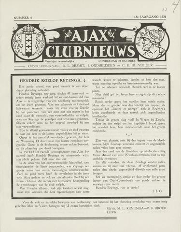 Clubnieuws Ajax (vanaf 1916) 1931-10-22