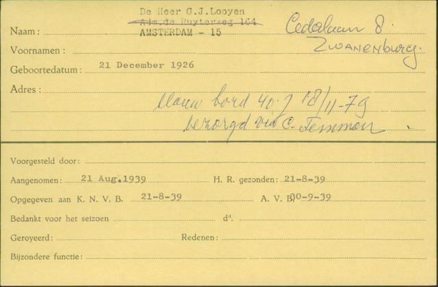 Ledenkaarten (1911-1989) 1939