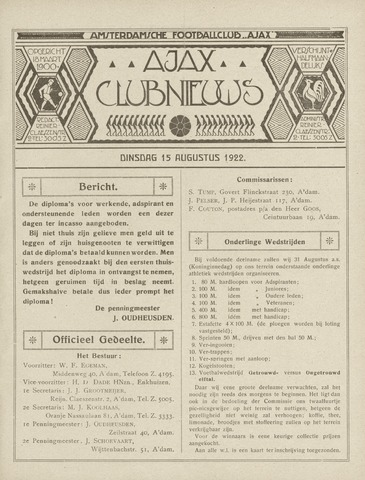 Clubnieuws Ajax (vanaf 1916) 1922-08-15