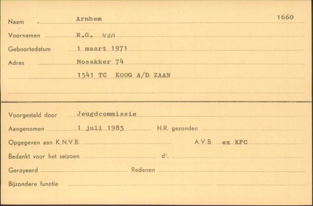 Ledenkaarten (1911-1989) 1985