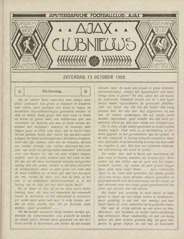 Clubnieuws Ajax (vanaf 1916) 1922-10-15