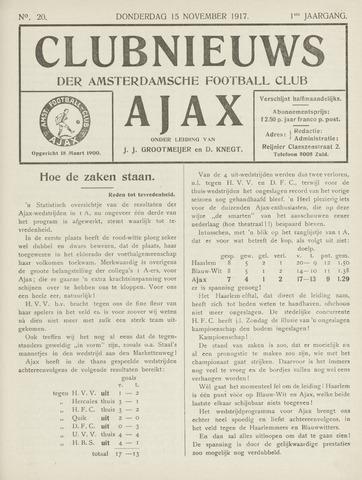 Clubnieuws Ajax (vanaf 1916) 1917-11-08