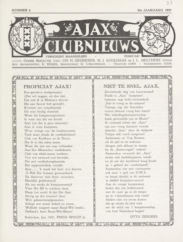 Clubnieuws Ajax (vanaf 1916) 1937-02-01