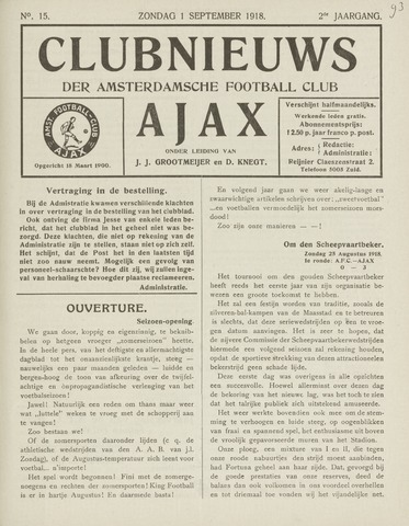 Clubnieuws Ajax (vanaf 1916) 1918-09-01