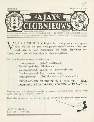 Clubnieuws Ajax (vanaf 1916) 1935-08-01