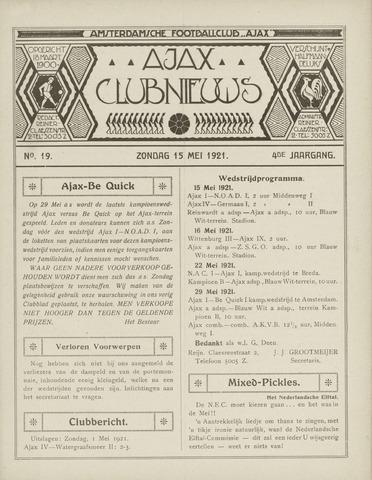 Clubnieuws Ajax (vanaf 1916) 1921-05-15