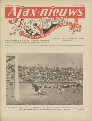Clubnieuws Ajax (vanaf 1916) 1949-04-01