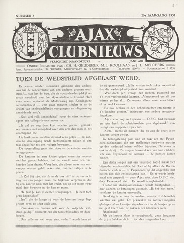 Clubnieuws Ajax (vanaf 1916) 1937-01-01