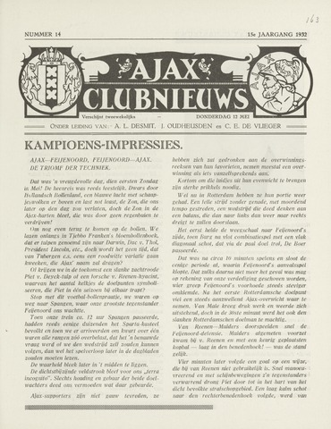 Clubnieuws Ajax (vanaf 1916) 1932-05-12