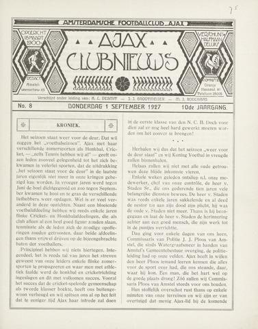 Clubnieuws Ajax (vanaf 1916) 1927-09-01