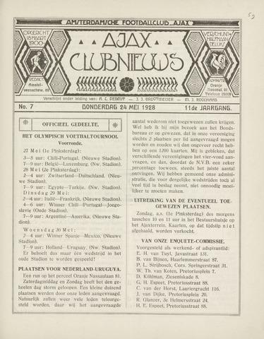 Clubnieuws Ajax (vanaf 1916) 1928-05-24