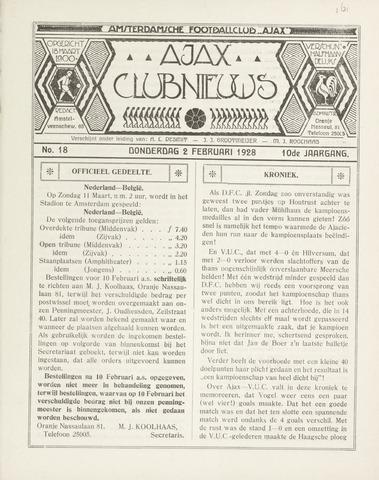 Clubnieuws Ajax (vanaf 1916) 1928-02-02