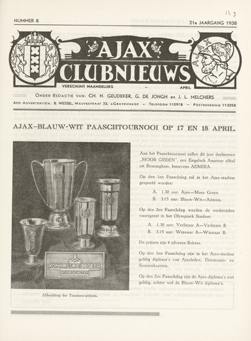 Clubnieuws Ajax (vanaf 1916) 1938-04-01