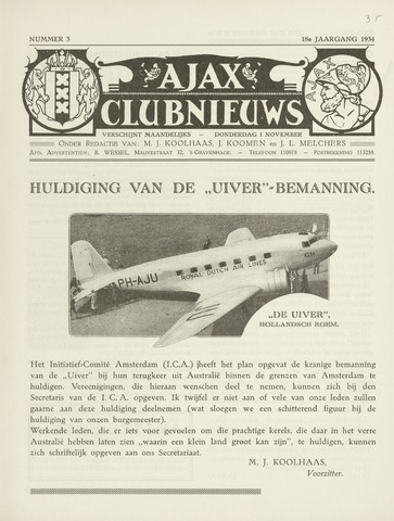 Clubnieuws Ajax (vanaf 1916) 1934-11-01