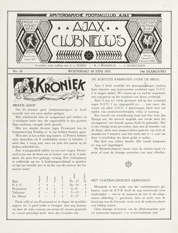 Clubnieuws Ajax (vanaf 1916) 1931-06-10