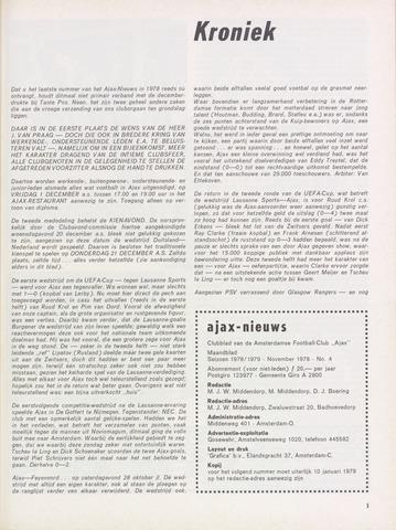 Clubnieuws Ajax (vanaf 1916) 1978-11-01