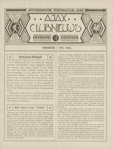 Clubnieuws Ajax (vanaf 1916) 1922-05-01