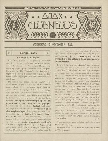 Clubnieuws Ajax (vanaf 1916) 1922-11-15