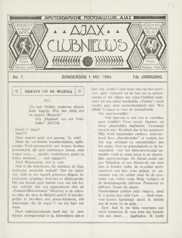 Clubnieuws Ajax (vanaf 1916) 1924-05-01