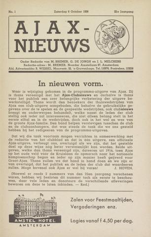 Clubnieuws Ajax (vanaf 1916) 1938-10-08