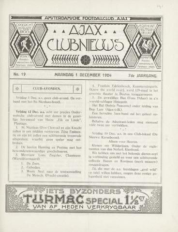 Clubnieuws Ajax (vanaf 1916) 1924-12-01