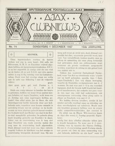 Clubnieuws Ajax (vanaf 1916) 1927-12-01
