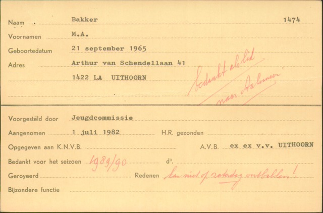 Ledenkaarten (1911-1989) 1982