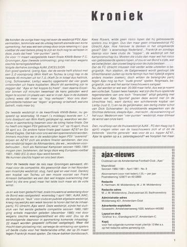 Clubnieuws Ajax (vanaf 1916) 1981-04-01