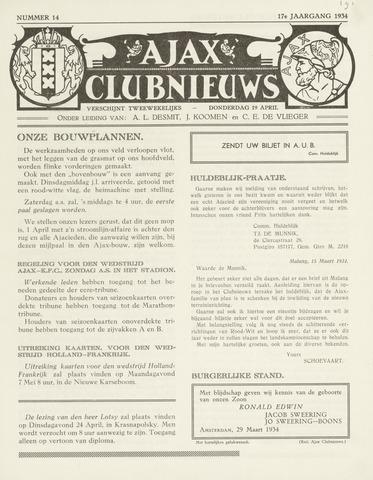 Clubnieuws Ajax (vanaf 1916) 1933-04-19