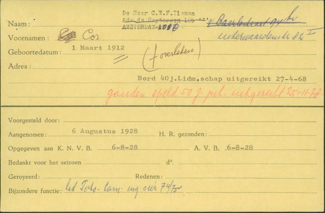 Ledenkaarten (1911-1989) 1928