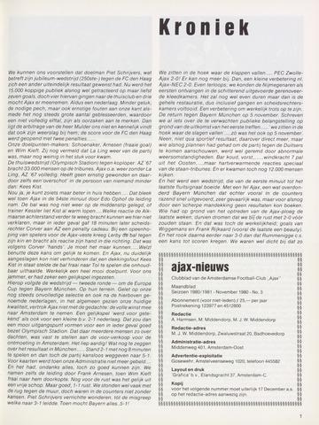 Clubnieuws Ajax (vanaf 1916) 1980-11-01